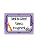 Back-to-School (Editable) Parent's Letter Assignment! Fun