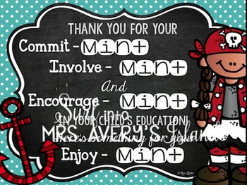 Editable Pirate Themed Welcome Back to School Printables