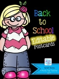Back to School Editable Postcards