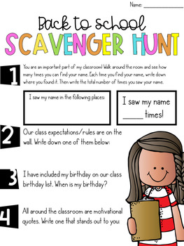 (Editable) Back to School Scavenger Hunt