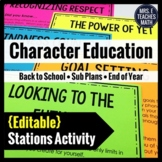 SUB PLANS Editable Stations Activity - Character Education
