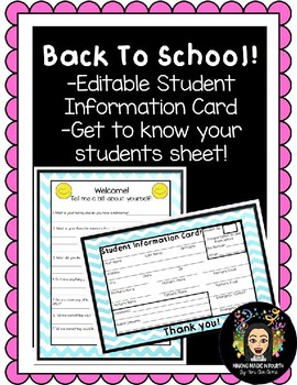 Back to School! Editable Student Information Card!