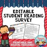 Back to School Editable Student Reading Survey