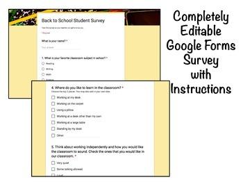 Back to School Editable Student Survey