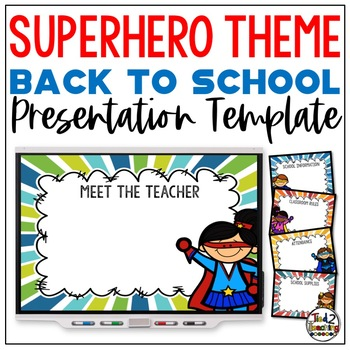 SUPER HERO Back To School PowerPoint Open House & Meet The Teacher Template