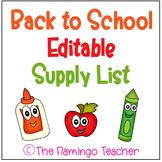 Back to School Editable Supply List