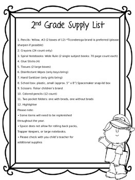 Back to School Editable Supply Lists