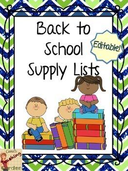 Back to School Editable Supply Lists