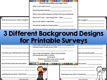 Back to School Editable Survey Bundle