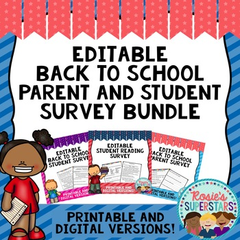 Back to School Editable Survey Bundle