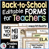 Back to School Forms for Teachers Editable - Syllabus, Ope