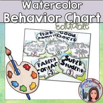 Back to School Editable Watercolor Behavior Clip Chart