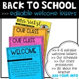 Editable Back to School Welcome Letters