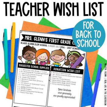 Editable Wish Lists for Back to School