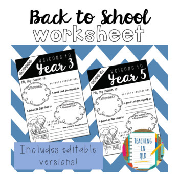 Back to School Editable Worksheet *FREEBIE*