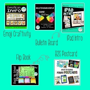 Back to School Elementary: Bulletin Board, Craftivity, Flip book, Postcards
