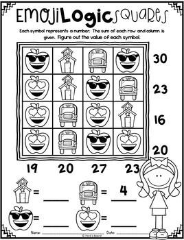 Emoji Back to School Math Logic Puzzles