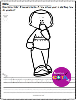 Back to School Emotion Coloring and Trace a Sentence
