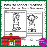 Back to School Emotions Color, Cut and Paste Sentence
