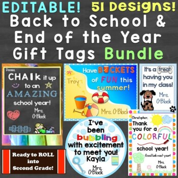 Back to School & End of the School Year Student Gift Tags Bundle