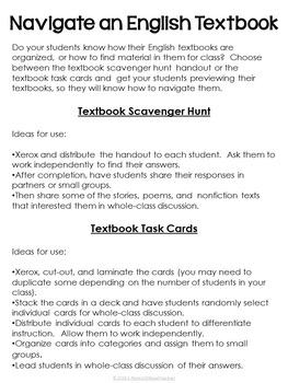 Back to School Textbook Scavenger Hunt Activities