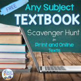 Back to School Textbook Scavenger Hunt Activities