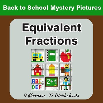 Back to School: Equivalent Fractions - Color-By-Number Math Mystery Pictures