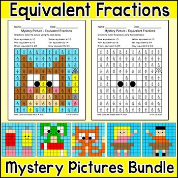 Equivalent Fractions School Theme Hidden Pictures Coloring Pages
