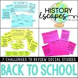 Back to School Escape Activity, Social Studies Escape