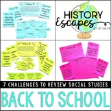 Back to School Escape Activity, Social Studies Escape