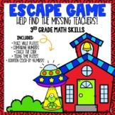 Back to School Escape Room 3rd grade Math Skills