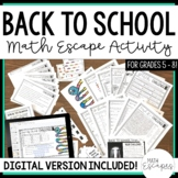 Back to School Escape Room Activity