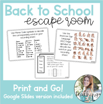 Back to School Escape Room- Print and Go!