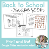 Back to School Escape Room- Digital or Print and Go! (DIST