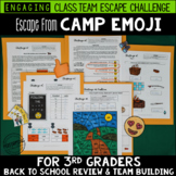 Back to School Escape from Camp Emoji 3rd Grade Reading & Math Review