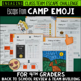 Back to School Escape from Camp Emoji 4th Grade Reading & Math Review