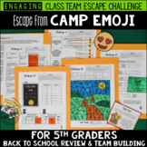 Back to School Escape from Camp Emoji 5th Grade Reading & Math Review