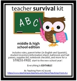 BTS: Rules, parent letter (Eng & Spanish), student inventory, and MORE!