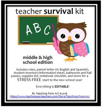 B2S: Rules, parent letter (Eng & Spanish), student inventory, and MORE!