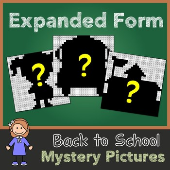 Back to School Expanded Form Mystery Pictures