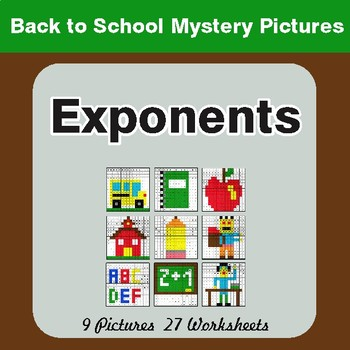 Back to School: Exponents - Color-By-Number Mystery Pictures