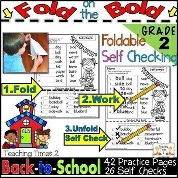Back to School FOLD ON THE BOLD (2nd Grade) Self Check Mat