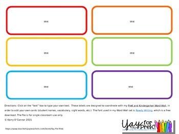 Back to School - FREE Editable Word Wall Cards/Labels {preschool, prek, and k}