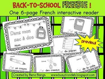"{Back-to-School FREEBIE!} ""Dans mon sac à dos"" French interactive reader"