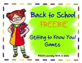 Back to School FREEBIE - Getting to Know You! Games - First Week Activities