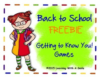 Back to School FREEBIE - Getting to Know You! Games - Firs