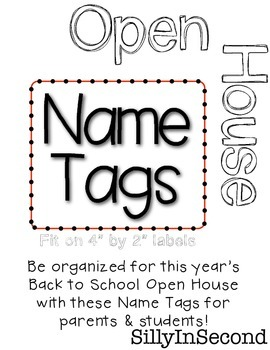 Back to School FREEBIE - Open House Name Tags