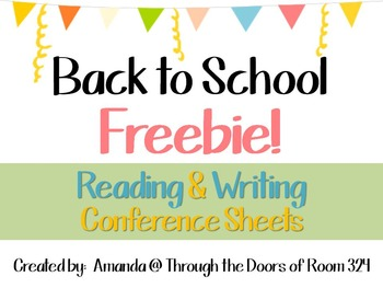 Reading and Writing Conference Forms - FREEBIE!
