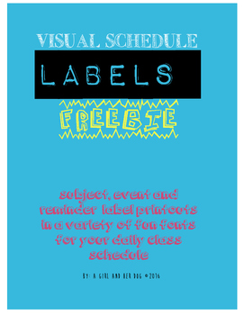 Back to School FREEBIE - Visual Daily Schedule Labels - Subject Area Labels