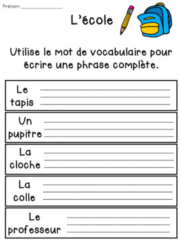 Back to School FRENCH vocabulary